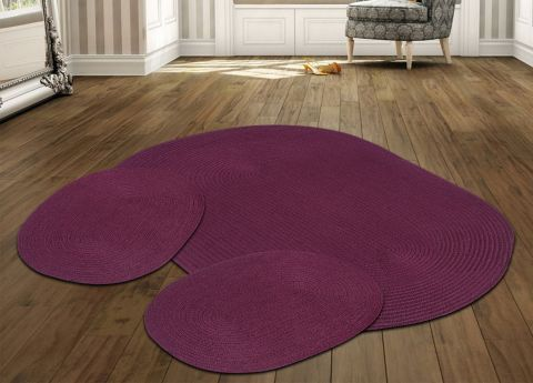 Country Braided Solid 3PC Rug Set