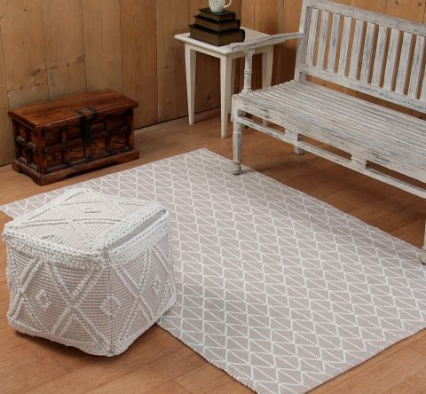 Mary Pouf Collection 2 Piece Set 100% Cotton Woven Area Rug