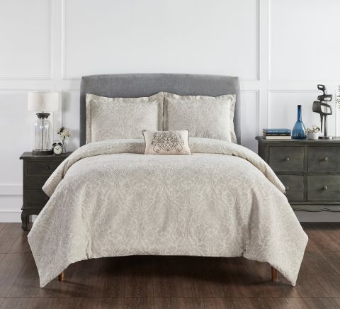 Haven Damask 100% Cotton 4-Piece Jacquard Pattern Comforter Set