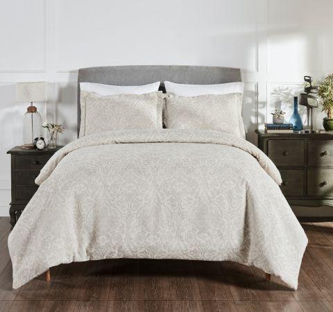 Haven Damask 100% Cotton 3-Piece Jacquard Pattern Duvet Cover Set