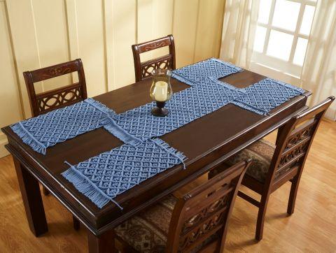 Macrame Solid Collection 4 Piece Set 100% Cotton Table Placemat