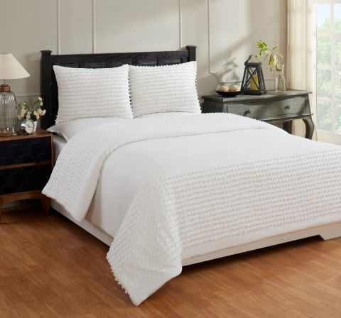 Olivia Full/Queen Comforter 90x90 with 2 Standard Sham 20x26 Ivory